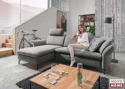 Domino kanapé a képen alacsony háttámlával LWI 4 szövettel és lekerekített ülésformával
