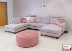 ADA Trendline 6372 kanapé, U alakú, pasztell párnákkal és körpuffal
