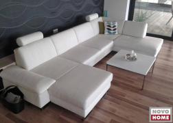 6435 U alakú ülőgarnitúra gyönyörű fehérben, mozgatható karfával