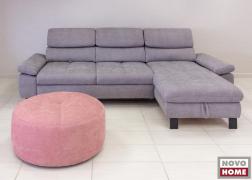 ADA Trendline 6668 kanapé szemből, kör alakú puffal, ELK vízzel tisztítható szövettel