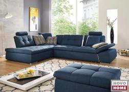 6674 Bronx kanapé elegáns kék színben, rövid oldalán is háttámlákkal