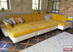 6682 ADA U alakú ülőgarnitúra, kinyitható, sárga-fehér, textilbőr szövet kombinációban