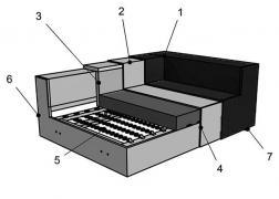 9346 ADA sarokgarnitúra szerkezeti felépítés