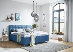 Elegáns, kék Pallas ADA franciaágy, egyenes tűzött ágytesttel és 5-ös vagy 15-ös fejvéggel