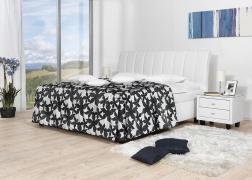 Gala ágy NTLO 1 textilbőrrel, 2-es fejvéggel és PUF 10 ágytakaróval