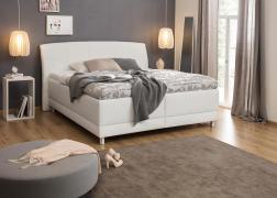 Glory ágy ágyneműtartóval, 2-es fejvéggel NTLO 1 fehér textilbőrrel