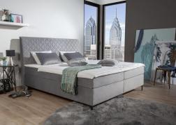 A Petro Alina Sleeping ágy boxspring rendszerben készül, bonellrugós alsóágy, táskarugós matrac és hab fedőmatrac összeállításban