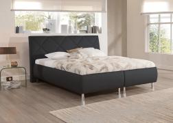 Reggy ágy 1-es fejvéggel NTLO 10 fekete textilbőr kárpittal