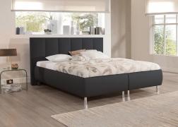 Reggy ágy 3-as fejvéggel NTLO 10 fekete textilbőr kárpittal