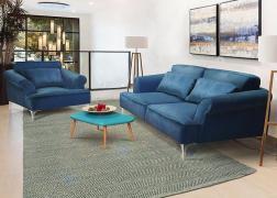 Kék bársony huzattal kanapé - fotel összeállításban