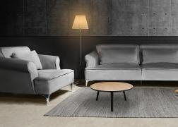 Manhattan kanapé - fotel összeállítás gyönyörű ezüst bársonnyal